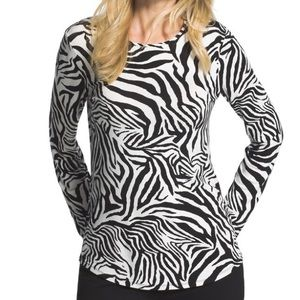 Chico's Zebra Print Long Sleeve Top
